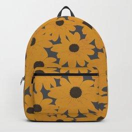 Black Eyed Susan Yellow Floral Retro Print Backpack