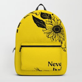 Never a bad hair day - Hairless Sphynx Cat Skull with a Sunflower - Funny Animal Quote - Line Drawing Wrinkly Kitty - Illuminating Yellow Backpack
