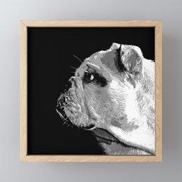 english bulldog dog vector art black white Framed Mini Art Print