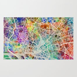 Hamburg Germany City Map Rug