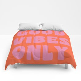 Retro Good Vibes Only Lettering in Pink and Orange Comforters