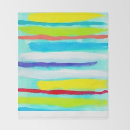 Ocean Blue Summer blue abstract painting stripes pattern beach tropical holiday california hawaii Throw Blanket