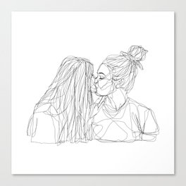 Girls kiss too Canvas Print