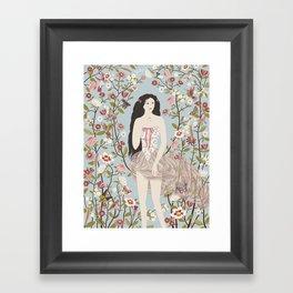 Lady, Flowers, Hummingbirds and Butterflies Framed Art Print