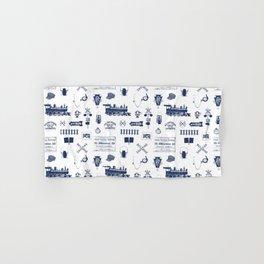 Railroad Symbols // Navy Blue Hand & Bath Towel