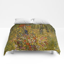 "Gustav Klimt ""Farm Garden with Crucifix "" Comforters"