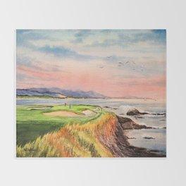 Pebble Beach Golf Course Hole 7 Throw Blanket