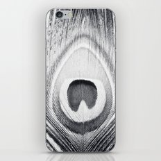 Black and White Peacock Feather Photography, Grey Nature, Neutral Gray Feathers iPhone & iPod Skin