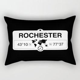Rochester New York Map GPS Coordinates Artwork with Compass Rectangular Pillow