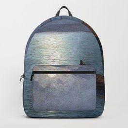 Coastal Marine Seascape Moonlit Boat and Lighthouse landscape painting by Guillermo Gomez Gil Backpack