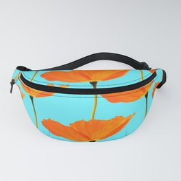 Poppies On A Turquoise Background #decor #society6 #buyart Fanny Pack
