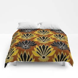 ART DECO YELLOW BLACK COFFEE BROWN AGAVE ABSTRACT Comforters