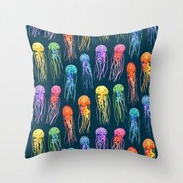 Rainbow Watercolor Jellies on Dark Teal Throw Pillow