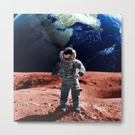 Funny Astronaut on the Mars Metal Print