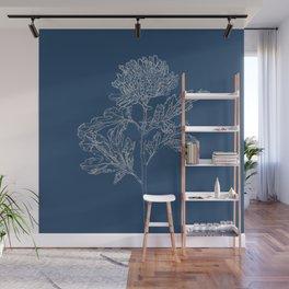 Chrysanthemum Blueprint Wall Mural