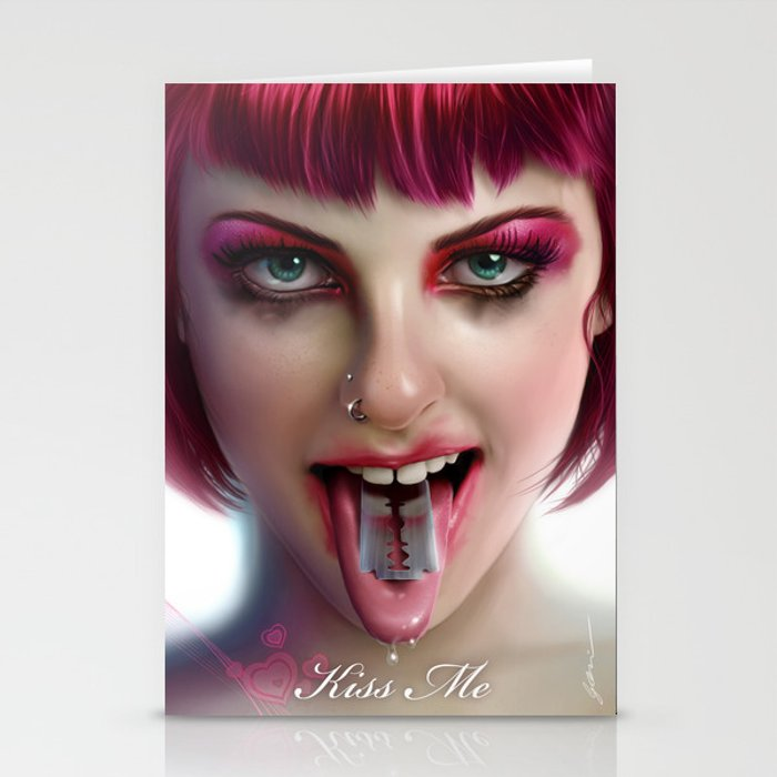 KISS ME - Pink Stationery Cards