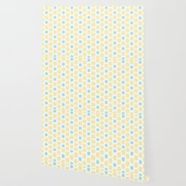 Spring Yellow Blue Flower Pattern Wallpaper