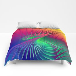 Outburst Spiral Fractal neon colored Comforters