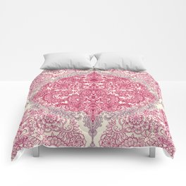Happy Place Doodle in Berry Pink, Cream & Mauve Comforters