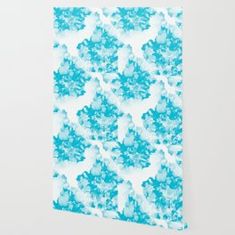 Beautiful Peony Flowers White Background Turquoise Blue Version #society6 #decor #buyart Wallpaper