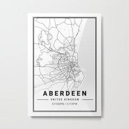 Aberdeen Light City Map Metal Print
