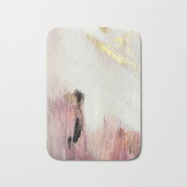 Sunrise [2]: a bright, colorful abstract piece in pink, gold, black,and white Badematte