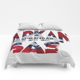 Arkansas Typographic Flag Map Art Comforters