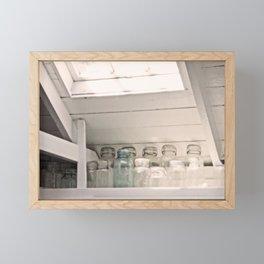 Vintage Jars in a White Kitchen Framed Mini Art Print