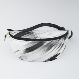 Modern Abstract Black White Brushstroke Art Fanny Pack