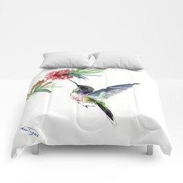 Hummingbird. elegant bird and flowers, minimalist bird art beautiful bird painting Comforters