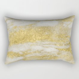 Marble - Glittery Gold Marble and White Pattern Rectangular Pillow