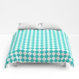 White and Turquoise Diamonds Comforters
