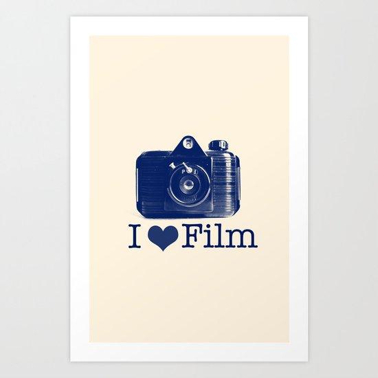 I ♥ Film (Blue/Peach) Art Print