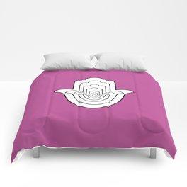 White Hamsa Fatma Hand on Pink Comforters