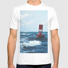 Buoy #6 MEDIUM White Mens Fitted Tee