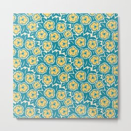 Flower Bouquet Pattern Turquoise and Yellow Metal Print