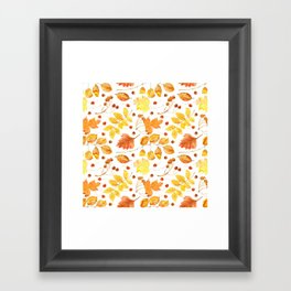 Watercolor autumn leaves seamless pattern on white background. Maple leave, hawthorn leave, birch le Framed Art Print