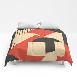 Geometrical abstract art deco mash-up scarlet beige Comforters