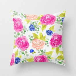 Flowing Rose Florals Throw Pillow