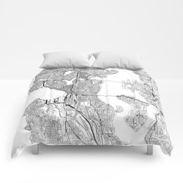 Seattle White Map Comforters
