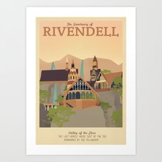 Retro Travel Poster Series - The Lord of the Rings - Rivendell Art Print