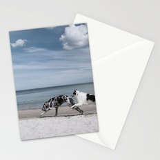 Running dogs at the beach Stationery Cards
