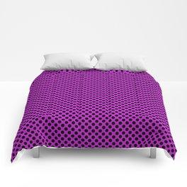 Dazzling Violet and Black Polka Dots Comforters