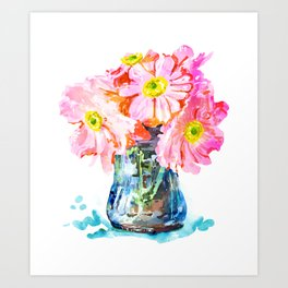 Watercolor Flower Pot Art Print