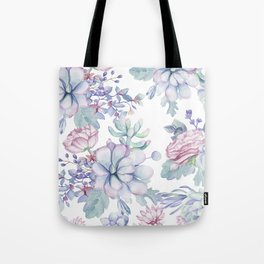 Pretty Blue Pink Succulents Garden Tote Bag