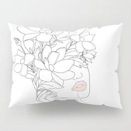 Minimal Line Art Woman with Magnolia Pillow Sham