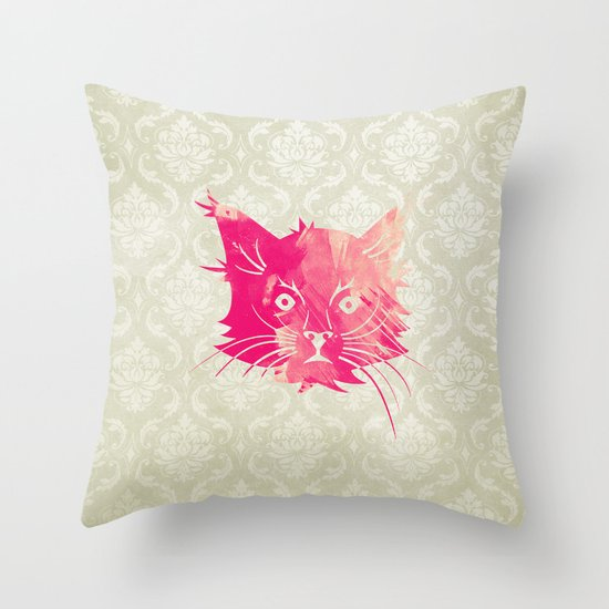Pink Watercolor Cat Vector Vintage Floral Damask Throw Pillow