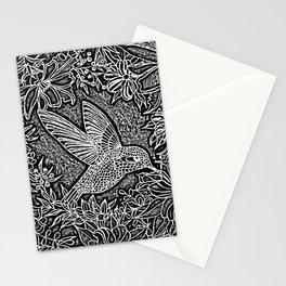 Hummingbird In Flowery Wreath Linocut Stationery Cards
