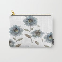 watercolor Dahlia blue Carry-All Pouch