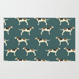 Tree Walker Coonhounds in Green Rug